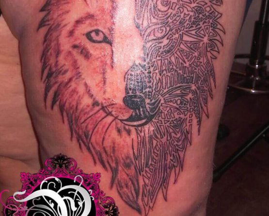 Realistic Tribal Wolf