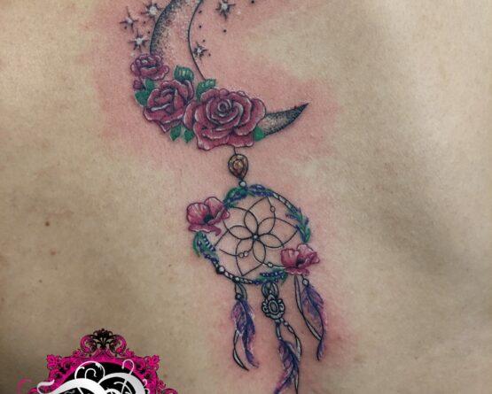 Mond Traumfänger Blumen Minimalistisch Tattoo